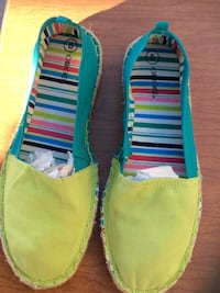 Green and blue striped slip on shoes