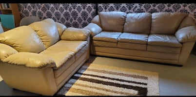 FREE DELIVERY TODAY - BEIGE 100% REAL LEATHER COUCH SET - GREAT COND