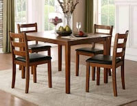 New brown wooden table with four chairs dining set Austin