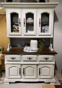 Vintage refinished farmhouse cabinet..buffet or server with hutch