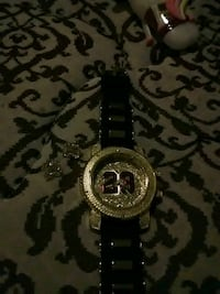 round gold-colored chronograph watch with black strap Detroit, 48219