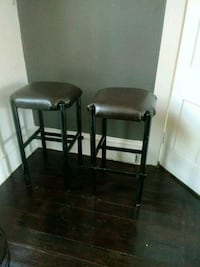 two black leather padded bar stools 67 km