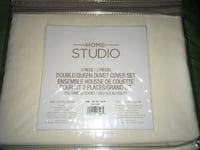 Home Studio Double/Queen Duvet Cover+2 Shams 3Pc Set Ivory New in Bag Montréal, H4G 1M2