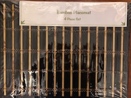 """New - Bamboo Placemats, Set of 4, Black, 13x17"""""""