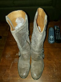 pair of gray suede round toe knee-high boots Toronto, M6N 1K8