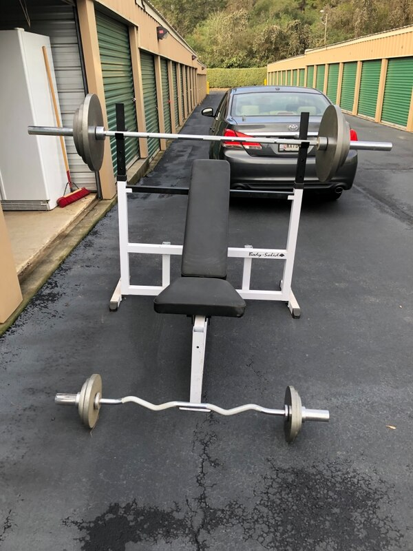 Used Body Solid Weight Bench And Weights For Sale In