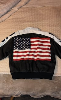 Men's USA Leather Jacket Red White and Blue American Flag Real Leather Large Carroll Valley, 17320