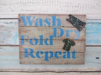 Wash Dry Fold Repeat printed wall decor