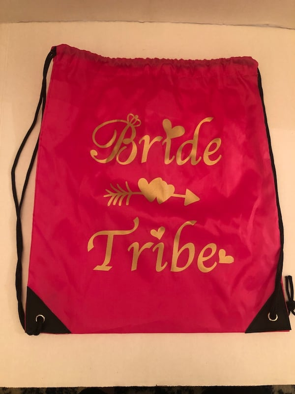 Pink and Gold Bride Tribe Drawstring Bag Backpack ff38fac5-afeb-414b-a248-808e433a1325