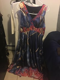 Women's blue and red sleeveless dress