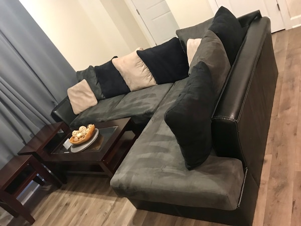Couch, entertainment center, coffee table, end tables and ottoman in great condition. Just moved and doesn't fit.