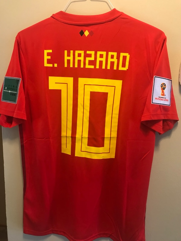 new arrivals b025d 16dae New W/Tags Eden Hazard #10 Belgium Home Jersey with Worldcup patches size L