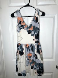 White dress with blue/peach floral design Somerville, 02145