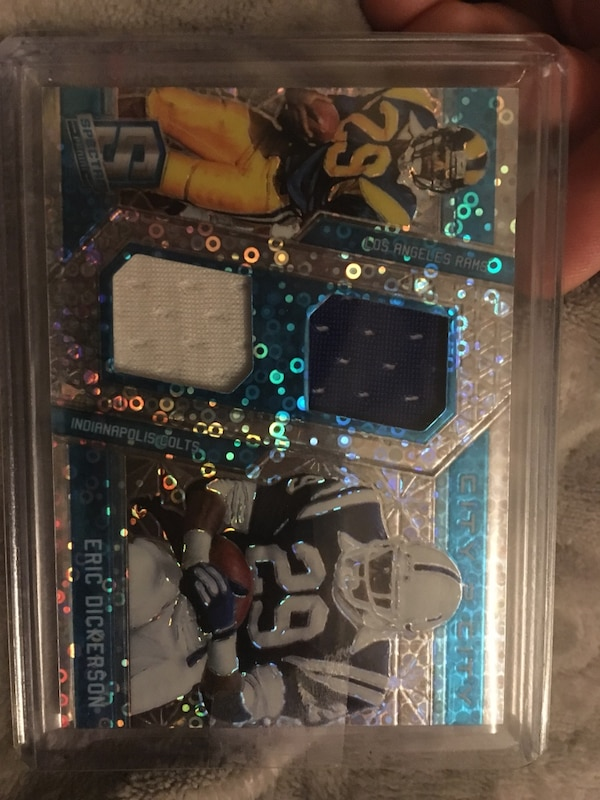 check out b01bf cf561 Eric Dickerson Dual patch prizm! Only 60 made. LA Rams /Colts. Player worn  jersey patches!!