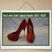pair of red leather spike studded heeled shoes