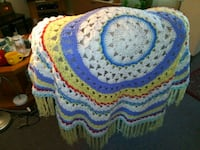 Beautiful handcrafted crocheted blanket. Early American style.