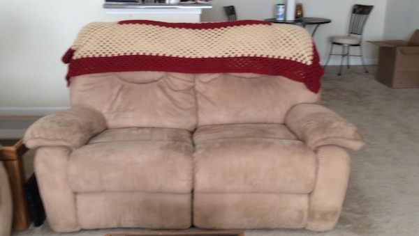 Marvelous Brown Cloth Loveseat With Two Recliners Alphanode Cool Chair Designs And Ideas Alphanodeonline