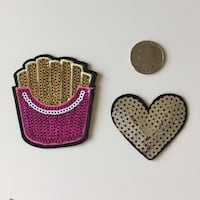 Set of 2 sequined iron on patches