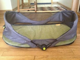 Brica fold-and-go bassinet. Great for holiday travels