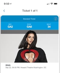 INNA CONCERT TICKET. I HAVE ONLY 1. This Saturday the 22nd of September Gaithersburg, 20879