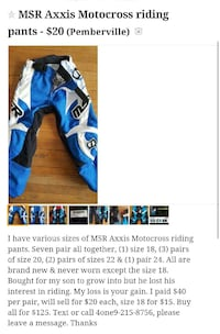 Youth MSR Axxis Motocross riding pants Pemberville, 43450