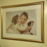 two angels gold  framed painting