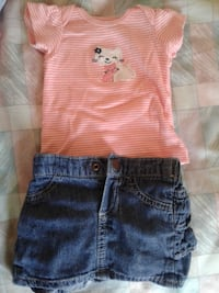 toddler's two pink top and blue denim shorts