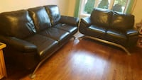 Black leather sofa set -2 pieces  538 km
