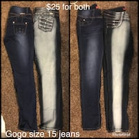 two black and blue denim jeans