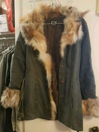 Ladies jeans jacket with real fur . Size XS  552 km