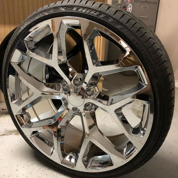 """22"""" & 24"""" CHEVY CADILLAC GMC SNOWFLAKE CHROME WHEELS WITH TIRES"""