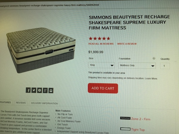 Simmons Beauty Recharge Shakespear Supreme Luxury Firm King Mattress