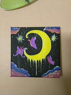 Hand painted moon with butterflies