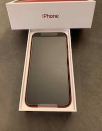 Product red iphone xr with box