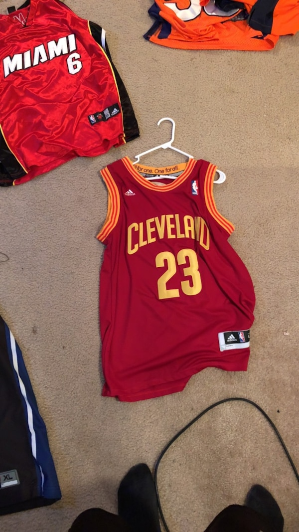 finest selection f46fb 71dfe 1 large Cleveland cavalier and 1 large miami heat LeBron jersey