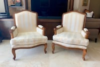 Matching Pair of 2 Handmade Mahogany Arm Reading Lounge Chair Chairs Miami, 33179