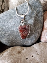 "925 Sterling Silver Natural Red Jasper Pendant With Chain  -  1.97"" Long ! Burlington, L7L 7J4"