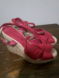 pair of red open-toe wedge sandals Lakeside, B3T 1K6