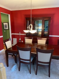 dining table set with lighted china cabinet Falls Church