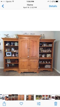 3 piece Oak entertainment cabinet/ wall unit and shelves