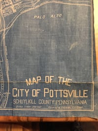 Antique 1940 Map of the City of Pottsville, Pa.