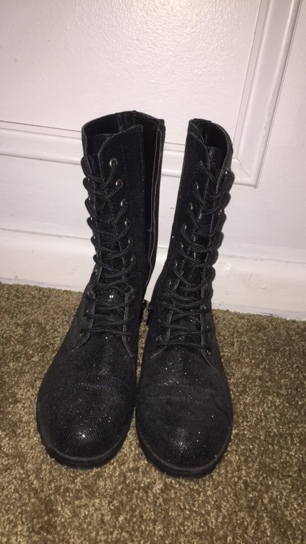 46a1659d6fc5 Used Pair of black sparkly lace-up combat boots. worn once for a dance  competition size 7. for sale in Jacksonville - letgo