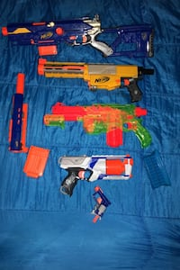 5 nerf guns with ammo