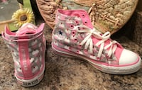 pink converse high top sneakers