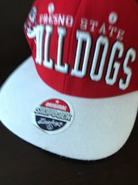red and white snapback cap