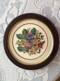 round brown and red floral ceramic plate Edmonton, T6A 1P5