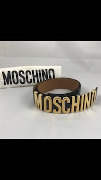 Authentic Moschino Lettered Logo Leather Belt New York, 10017