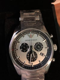 round silver chronograph watch with black leather strap Kitchener, N2E 3P6