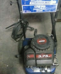 black and blue push mower