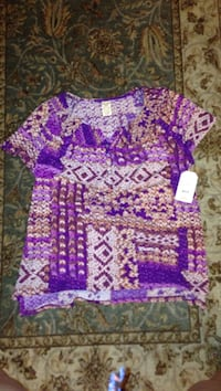 purple and brown floral printed button-up t-shirt